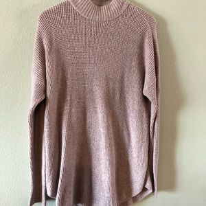 AE pink knit mock neck sweater